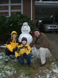 Family snowman picture.
