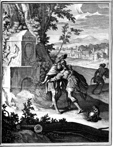 Jonathan Embracing David - 18th Century Engraving