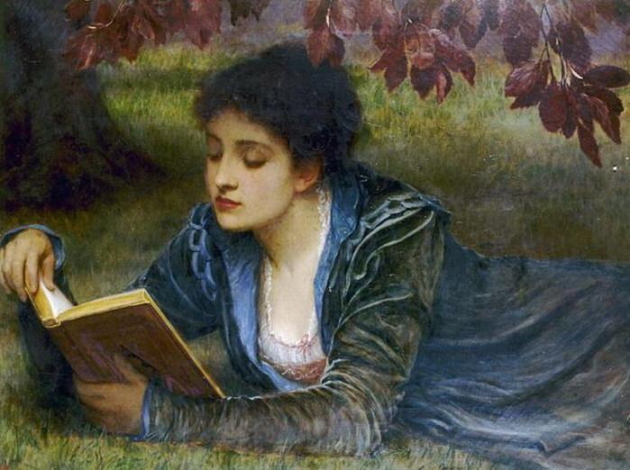 Girl Reading - Charles Edward Peruigini - 1870