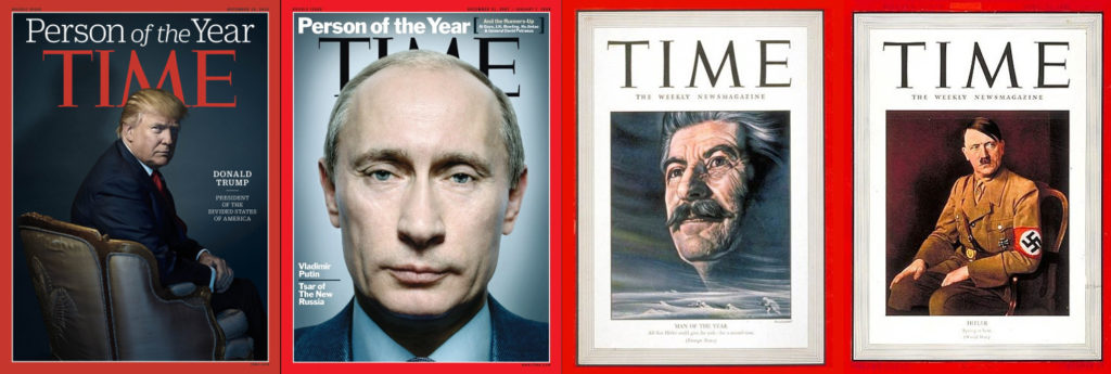 "Trump, Putin, Stalin, and Hitler - each on the cover of Time as ""Person of the Year"""