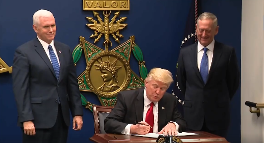 Screenshot from a video of Donald Trump with Mike Pence and General James Mattis (Source: Wikimedia Commons)